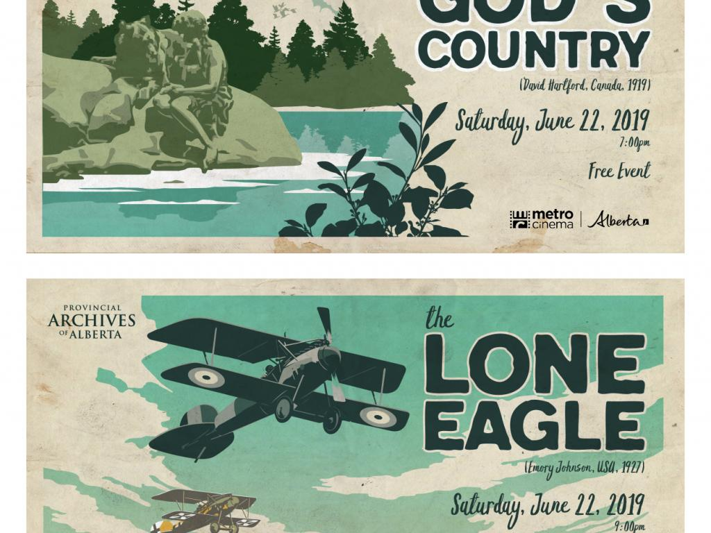 Advertisments for the PAA film night showings of Back to God's Country and The Lone Eagle
