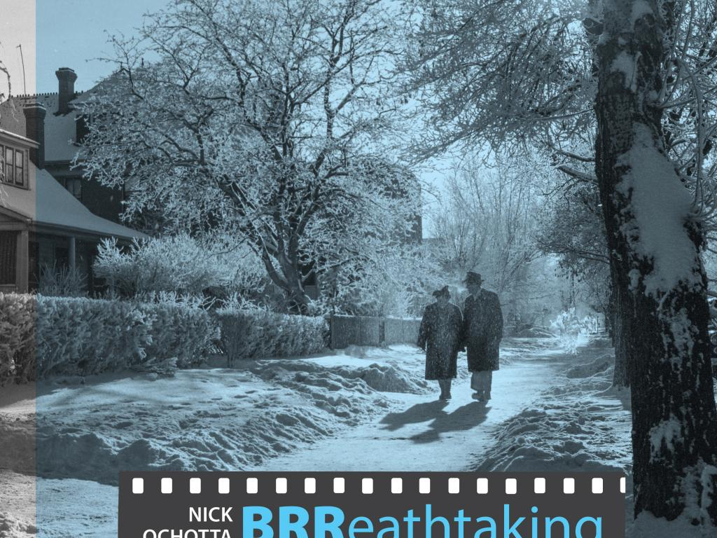 Brreathtaking images of a Winter City exhibit poster - A man and woman walking down a snowy street.