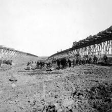 Construction of the Bassano Dam, 1909-1912 <BR />Provincial Archives of Alberta Photo A10510 <BR />Photographer unknown