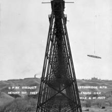 Construction of the Lethbridge Viaduct, 1910 <BR />Provincial Archives of Alberta Photo A11930 <BR />Photographer T.F.R. McKitrick