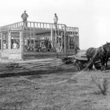 Construction of a private residence near Bowden, 1909 <BR />Provincial Archives of Alberta Photo H544 <BR />Photographer Robert Hoare